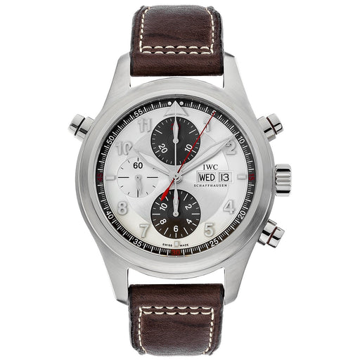 IWC Men's IW371806 Spitfire Double Chronograph Chronograph Brown Leather Watch