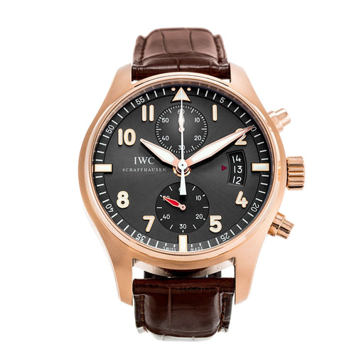 IWC Men's IW387803 Pilot Spitfire Chronograph Brown Leather Watch
