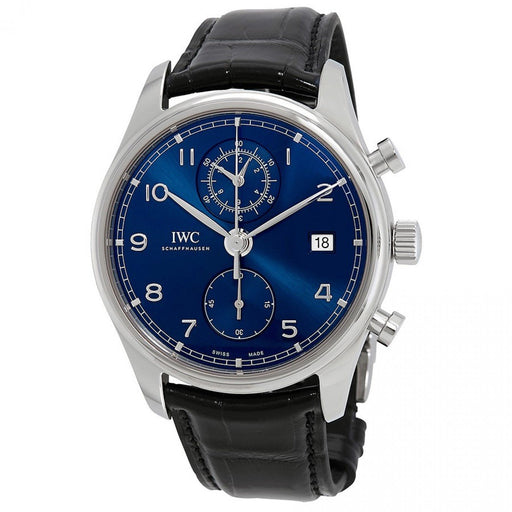 IWC Men's IW390303 Portugieser Chronograph Black Leather Watch
