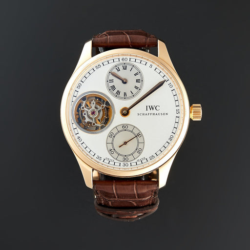 IWC Men's IW544602 Portuguese Regulator Tourbillon Brown Leather Watch