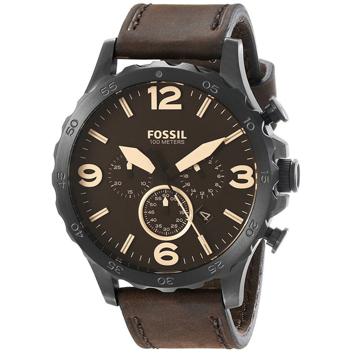 Fossil Men's JR1487 Nate Chronograph Brown Leather Watch
