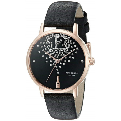 Kate Spade Women's KSW1014 Metro Champagne Crystal Black Leather Watch