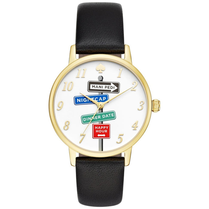 Kate Spade Women's KSW1128 Metro Novelty Sign Post Black Leather Watch