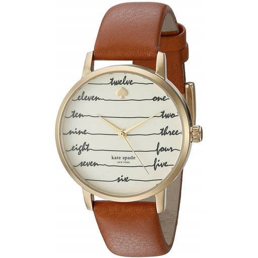 Kate Spade Women's KSW1237 Metro Scripted Numbers Brown Leather Watch