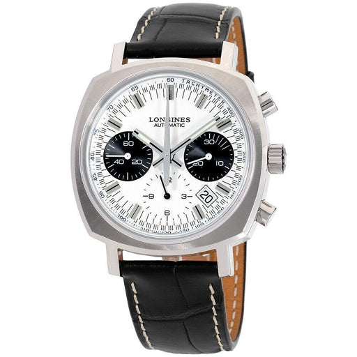 Longines Men's L2.791.4.72.0 Heritage Chronograph Black Leather Watch