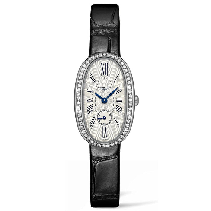 Longines Women's L23060710 Symphonette Diamond Black Leather Watch
