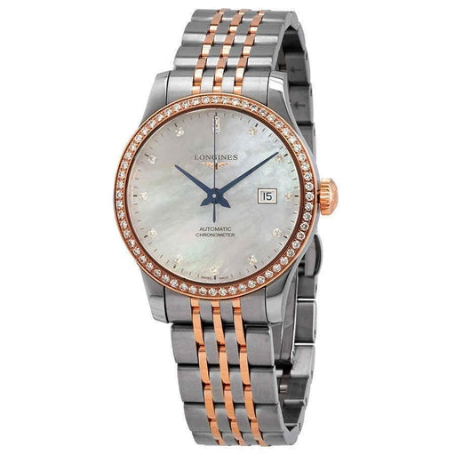 Longines Women's L23215897 Record Two-Tone Stainless Steel with 18kt Rose Gold Links Watch