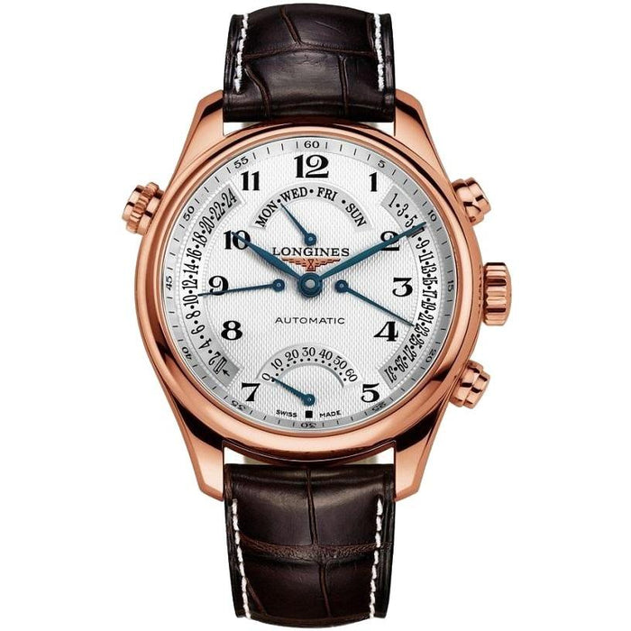 Longines Men's L27178783 Master Collection 18kt Rose Gold Retrograde Power Reserve Automatic Brown Leather Watch