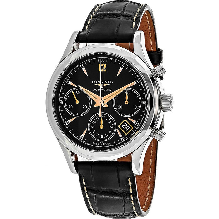 Longines Men's L27424560 Flagship Heritage Chronograph Automatic Black Leather Watch