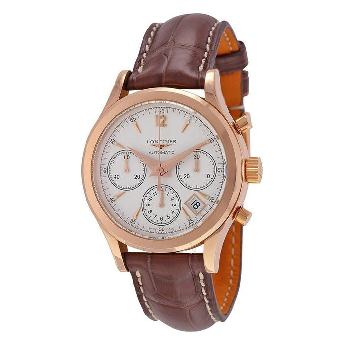 Longines Men's L27428762 Heritage 18kt Rose Gold Chronograph Automatic Brown Leather Watch