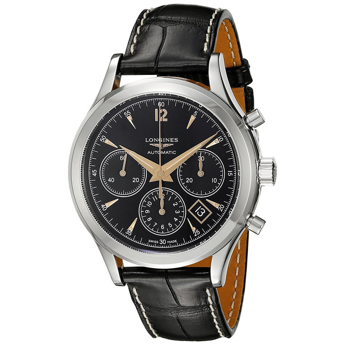 Longines Men's L27504560 Flagship Heritage Chronograph Automatic Black Leather Watch