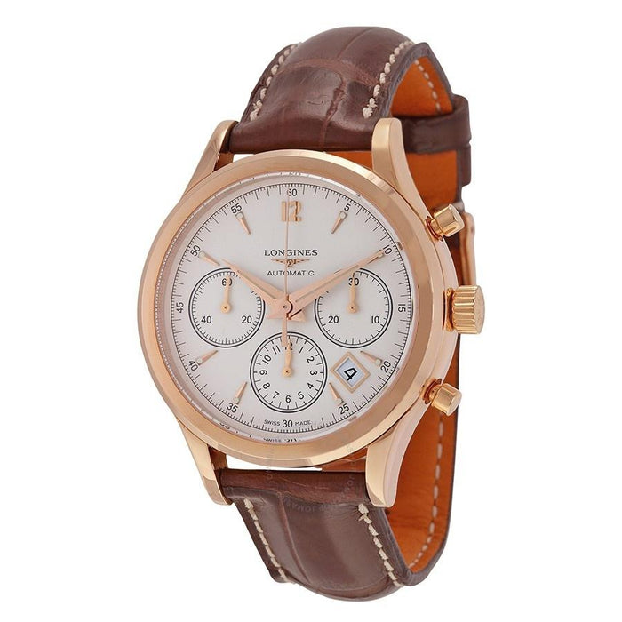 Longines Men's L27508762 Heritage 18kt Rose Gold Chronograph Automatic Brown Leather Watch