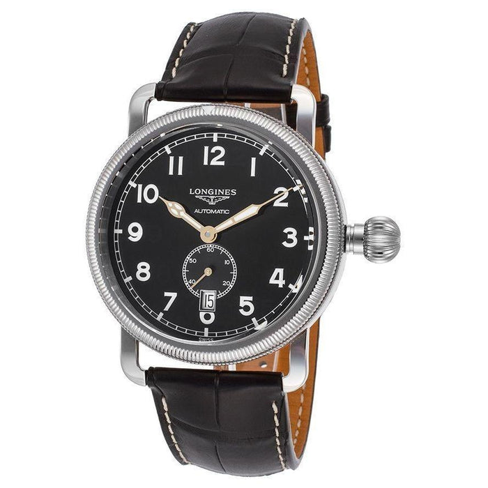 Longines Men's L27774532 Avigation Automatic Black Leather Watch