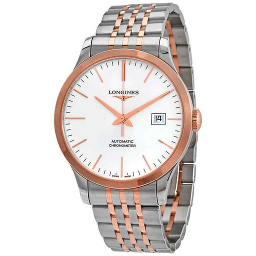 Longines Men's L28215727 Record Two-Tone Stainless Steel with 18kt Rose Gold Links Watch