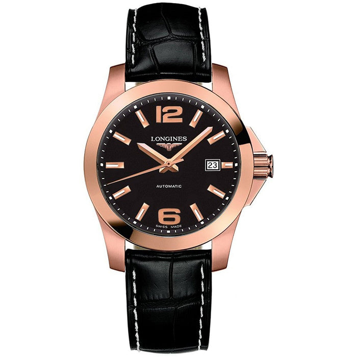 Longines Men's L36768563 Conquest 18kt Rose Gold Automatic Black Leather Watch