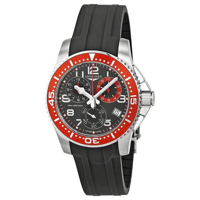 Longines Men's L36904592 HydroConquest Chronograph Black Rubber Watch