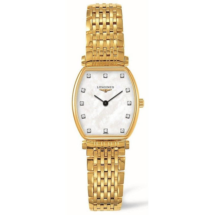 Longines Women's L42052878 La Grande Classique Tonneau Diamond Gold-Tone Stainless Steel Watch