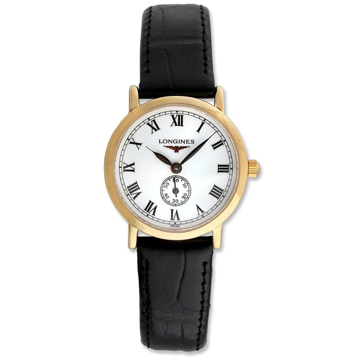 Longines Women's L42918212 Flagship Heritage 18kt Rose Gold Black Leather Watch