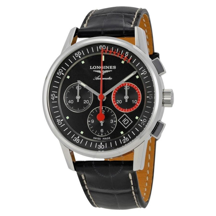 Longines Men's L47544524 Heritage Chronograph Automatic Black Leather Watch