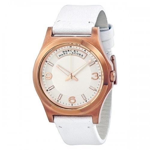 Marc Jacobs Women's MBM1260 Dave White Leather Watch