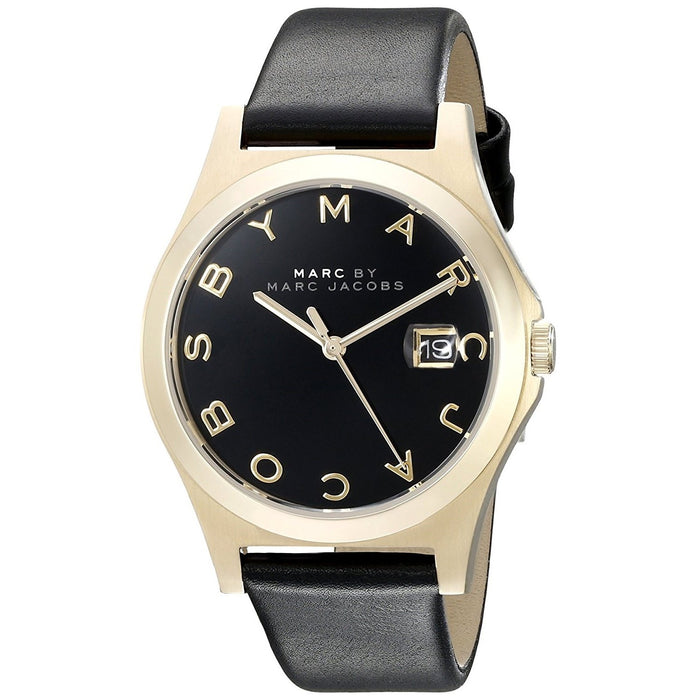 Marc Jacobs Women's MBM1357 Henry Slim Black Leather Watch