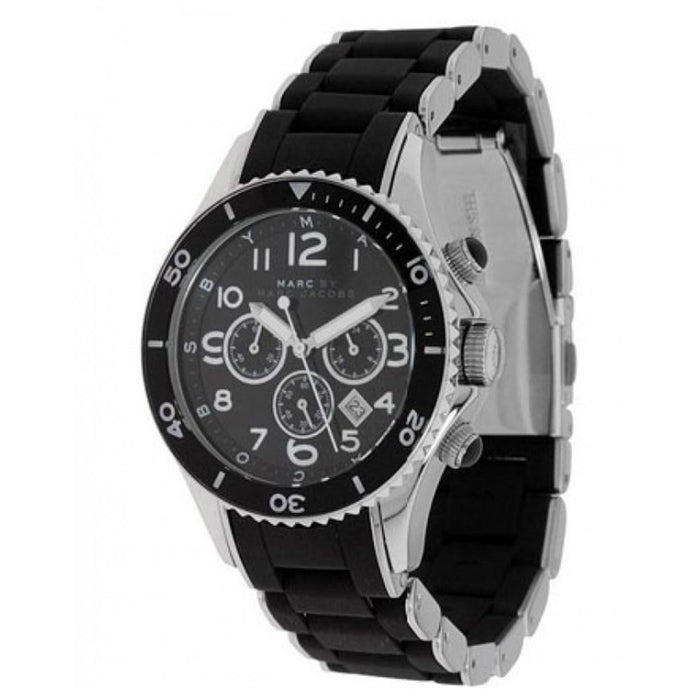 Marc Jacobs Women's MBM2551 Rock Chronograph Black Stainless steel and Silicone Watch