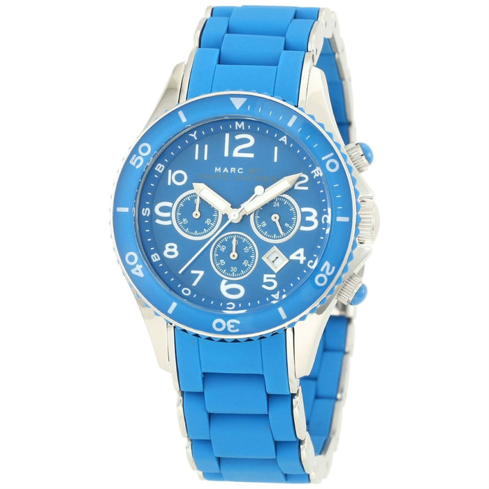 Marc Jacobs Women's MBM2575 Rock Chronograph Blue Stainless steel and Silicone Watch