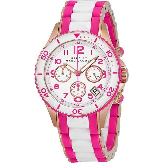 Marc Jacobs Women's MBM2593 Rock Chronograph Pink and White Stainless steel and Silicone Watch