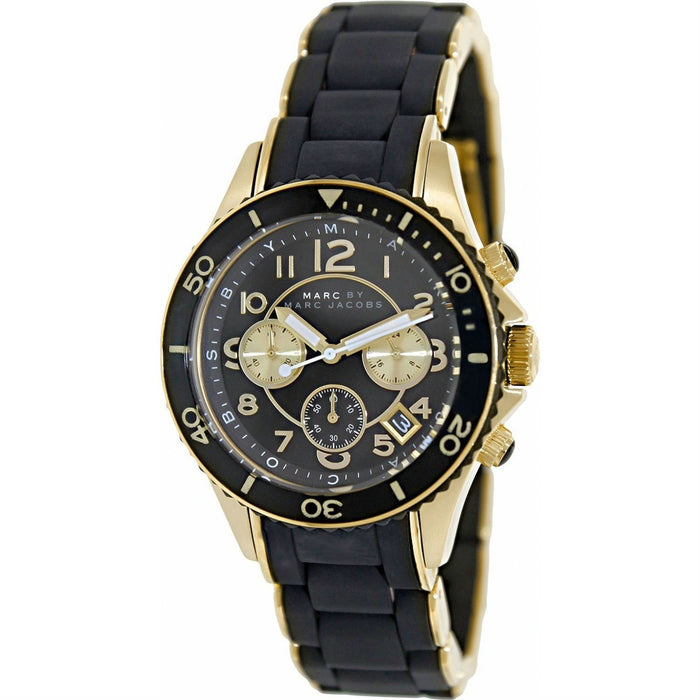 Marc Jacobs Women's MBM2598 Rock Chronograph Black Stainless steel and Silicone Watch