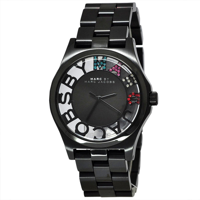 Marc Jacobs Women's MBM3265 Skeleton Crystal Black Stainless Steel Watch