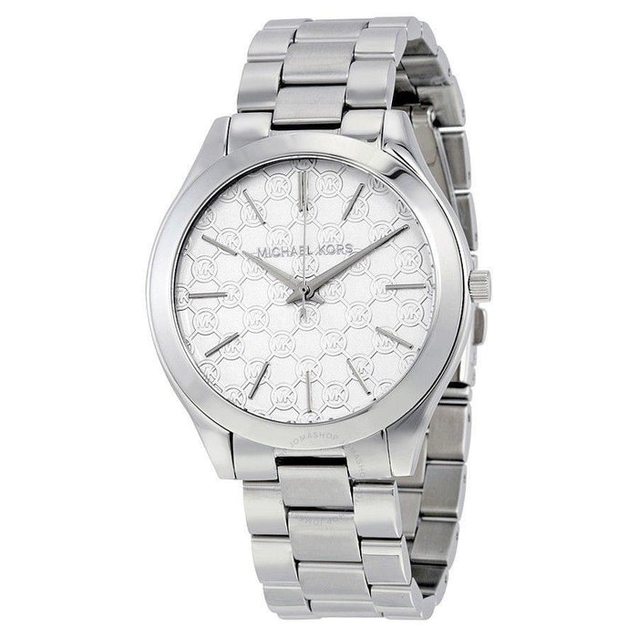 Michael Kors Women's MK3371 Slim Runway MK Logo Stainless Steel Watch