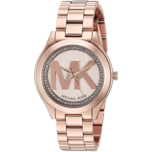 Michael Kors Women's MK3549 Mini Slim Runway Crystal MK Logo Rose-Tone Stainless Steel Watch