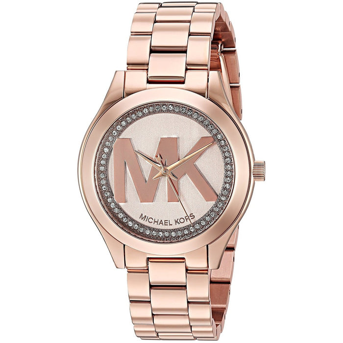 b0f0e20eaaf2 Michael Kors Women s MK3549 Mini Slim Runway Crystal MK Logo Rose-Tone  Stainless Steel Watch