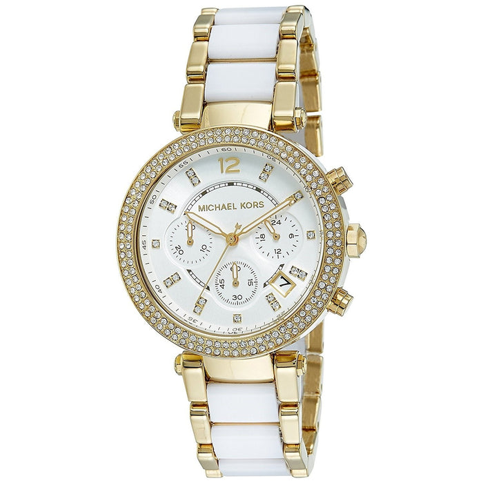 d0f21e09a008 Michael Kors Women s MK6119 Parker Chronograph Two-Tone Stainless Steel  Watch