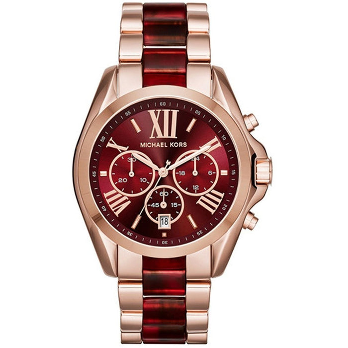 6467fc1b8 Michael Kors Women's MK6270 Bradshaw Chronograph Red and Rose-Tone  Stainless steel and Acetate Watch