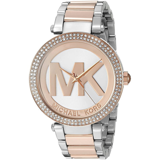 00ccb3524199 Michael Kors Women s MK6314 Parker MK Logo Crystal Two-Tone Stainless Steel  Watch