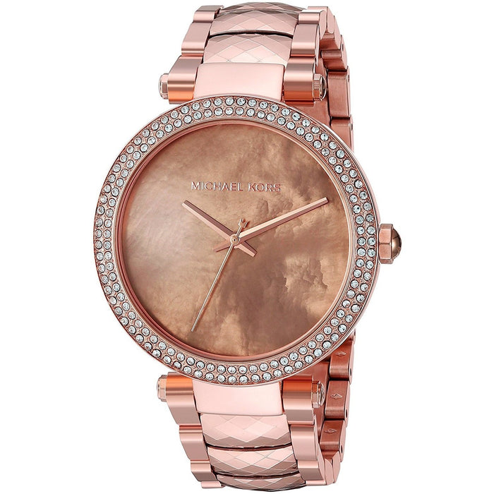 8876cf4a1bfe Michael Kors Women s MK6426 Parker Crystal Rose-Tone Stainless Steel Watch