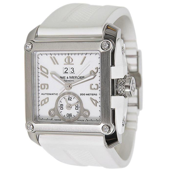 Baume & Mercier Men's MOA08839 Hampton Square XXL GMT Diamond Automatic White Rubber Watch