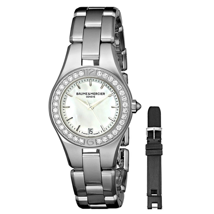 Baume & Mercier Women's MOA10013 Linea Extra Leather Black Strap Diamond Stainless Steel Watch