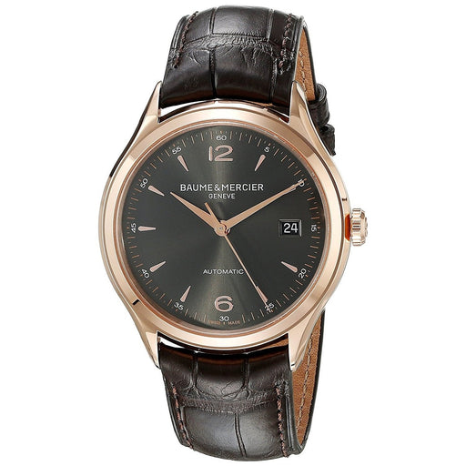 Baume & Mercier Men's MOA10059 Clifton 18K Rose Gold Automatic Brown Leather Watch