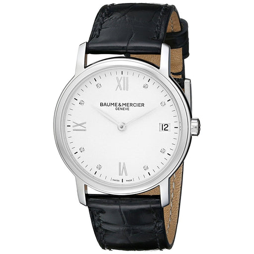 Baume & Mercier Women's MOA10146 Classima Diamond Automatic Black Leather Watch
