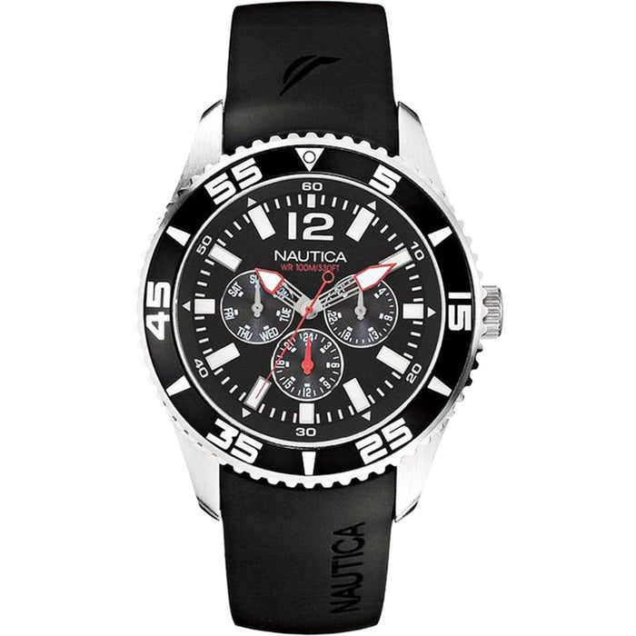 Nautica Men's N11086G NST Multi-Function Black Silicone Watch