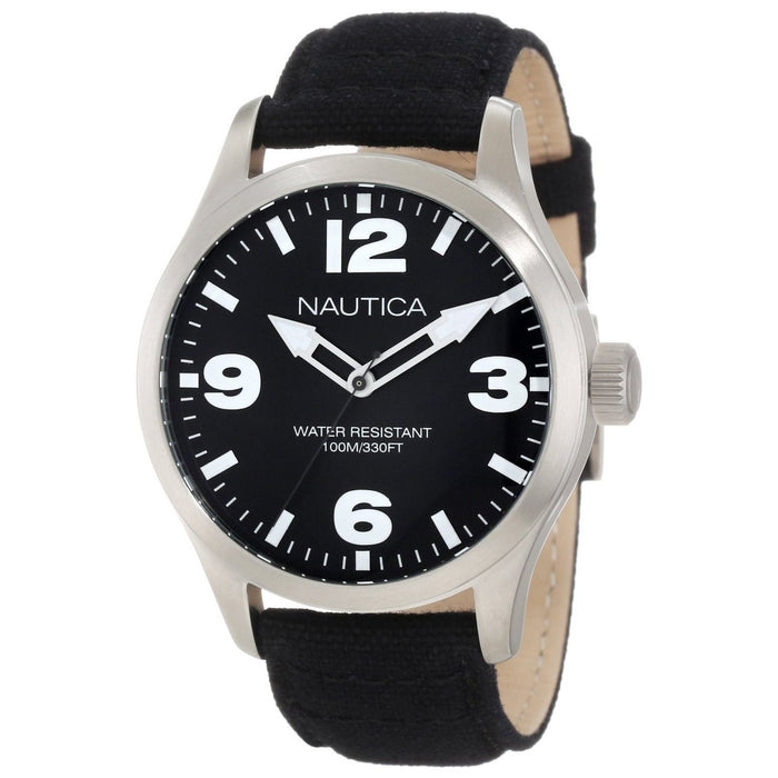 Nautica Men's N11556G BFD Black Nylon and Leather Watch