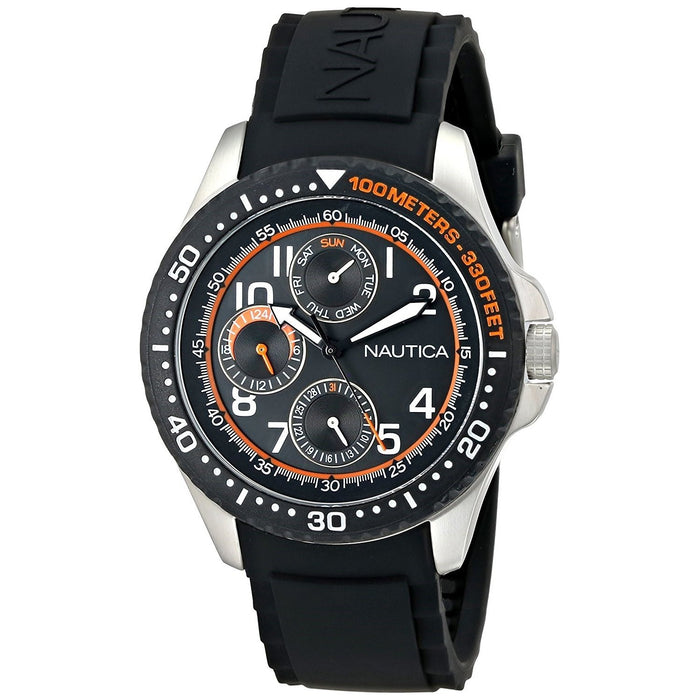 Nautica Men's N13685G NSR Multi-Function Black Silicone Watch