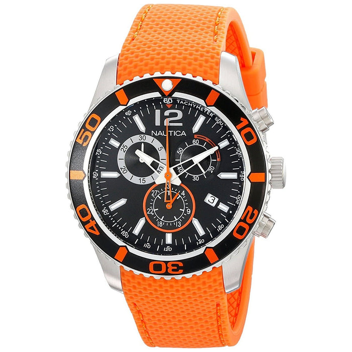 Nautica Men's N15101G NST Multi-Function Orange Silicone Watch