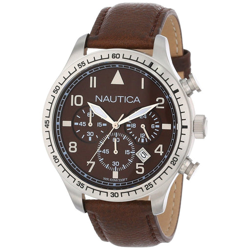 Nautica Women's N16582G BFD Chronograph Brown Leather Watch