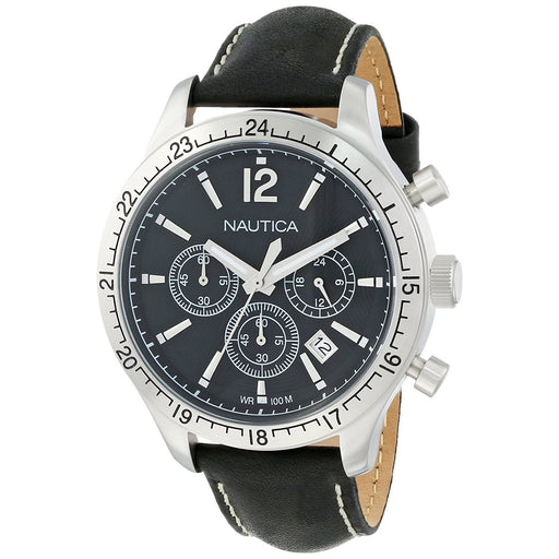 Nautica Men's N16659G BFD Chronograph Black Leather Watch