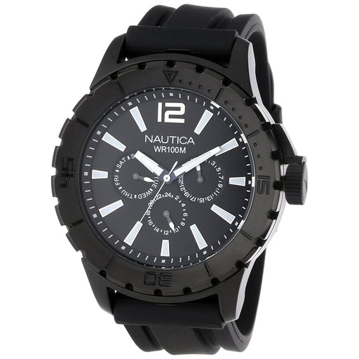 Nautica Men's N17594G NSR Multi-Function Black Stainless Steel Watch