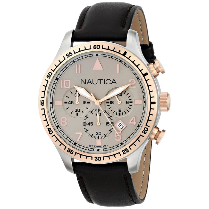 Nautica Men's N17656G BFD Chronograph Brown Leather Watch