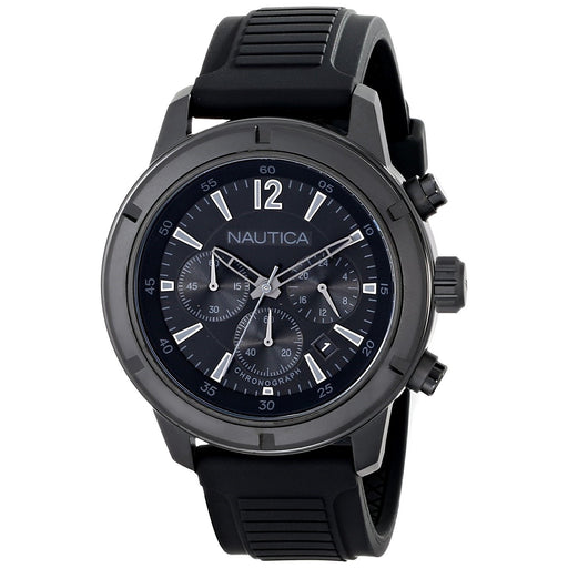Nautica Men's N18709G NST Chronograph Black Silicone Watch